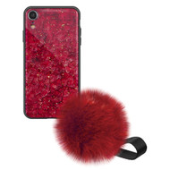 Liquid Glass Finish Pomzie Hybrid Case with Faux Fur Pom Pom Hand Strap for iPhone XR - Ruby Red