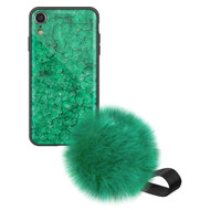 Liquid Glass Finish Pomzie Hybrid Case with Faux Fur Pom Pom Hand Strap for iPhone XR - Emerald Green