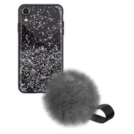 Liquid Glass Finish Pomzie Hybrid Case with Faux Fur Pom Pom Hand Strap for iPhone XR - Black Glitter