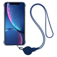 Slim Frosty Semi Transparent Fusion Case with Lanyard for iPhone XR - Navy Blue