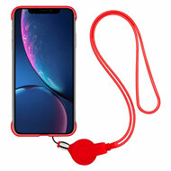 Slim Frosty Semi Transparent Fusion Case with Lanyard for iPhone XR - Red