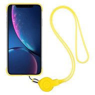 Slim Frosty Semi Transparent Fusion Case with Lanyard for iPhone XR - Yellow