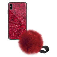 Liquid Glass Finish Pomzie Hybrid Case with Faux Fur Pom Pom Hand Strap for iPhone XS Max - Ruby Red
