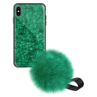Liquid Glass Finish Pomzie Hybrid Case with Faux Fur Pom Pom Hand Strap for iPhone XS Max - Emerald Green