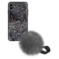 Liquid Glass Finish Pomzie Hybrid Case with Faux Fur Pom Pom Hand Strap for iPhone XS Max - Black Glitter