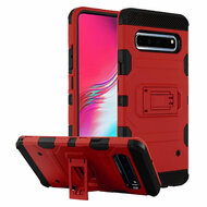 Military Grade Certified Storm Tank Hybrid Armor Case with Stand for Samsung Galaxy S10 5G - Red