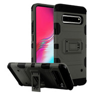 Military Grade Certified Storm Tank Hybrid Armor Case with Stand for Samsung Galaxy S10 5G - Dark Grey