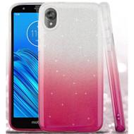 Full Glitter Hybrid Protective Case for Motorola Moto E6 - Gradient Hot Pink