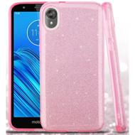 Full Glitter Hybrid Protective Case for Motorola Moto E6 - Pink