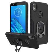 Multifunctional Hybrid Case with 360° Bottle Opener Rotating Ring Holder Kickstand for Motorola Moto E6 - Black