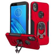 Multifunctional Hybrid Case with 360° Bottle Opener Rotating Ring Holder Kickstand for Motorola Moto E6 - Red