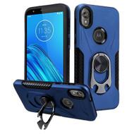 Multifunctional Hybrid Case with 360° Bottle Opener Rotating Ring Holder Kickstand for Motorola Moto E6 - Navy Blue