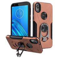 Multifunctional Hybrid Case with 360° Bottle Opener Rotating Ring Holder Kickstand for Motorola Moto E6 - Rose Gold