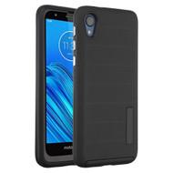 Haptic Dots Texture Anti-Slip Hybrid Armor Case for Motorola Moto E6 - Black