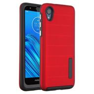 Haptic Dots Texture Anti-Slip Hybrid Armor Case for Motorola Moto E6 - Red