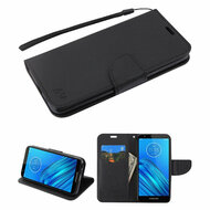 Crossgrain Series Diary Leather Wallet Stand Case for Motorola Moto E6 - Black