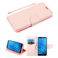 Crossgrain Series Diary Leather Wallet Stand Case for Motorola Moto E6 - Rose Gold
