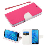Crossgrain Series Diary Leather Wallet Stand Case for Motorola Moto E6 - Hot Pink