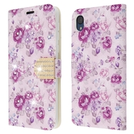 Diamond Series Luxury Bling Portfolio Leather Wallet Case for Motorola Moto E6 - Fresh Purple Flowers