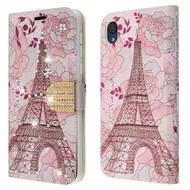 Diamond Series Luxury Bling Portfolio Leather Wallet Case for Motorola Moto E6 - Eiffel Tower