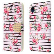 Diamond Series Luxury Bling Portfolio Leather Wallet Case for Motorola Moto E6 - Pink Fresh Roses