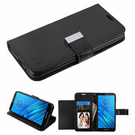 Xtra Series Essential Leather Wallet Stand Case for Motorola Moto E6 - Black