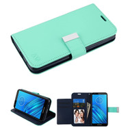 Xtra Series Essential Leather Wallet Stand Case for Motorola Moto E6 - Teal Green