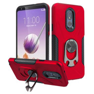 Multifunctional Hybrid Case with 360° Bottle Opener Rotating Ring Holder Kickstand for LG Stylo 5 - Red