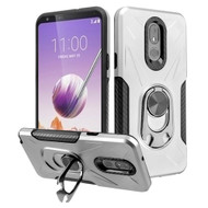 Multifunctional Hybrid Case with 360° Bottle Opener Rotating Ring Holder Kickstand for LG Stylo 5 - Silver