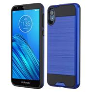 Brushed Coated Hybrid Armor Case for Motorola Moto E6 - Blue