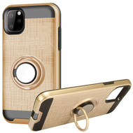Multifunctional Hybrid Armor Case with Smart Loop Ring Holder for iPhone 11 Pro Max - Gold