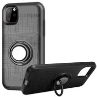 Multifunctional Hybrid Armor Case with Smart Loop Ring Holder for iPhone 11 Pro - Black