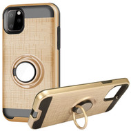 Multifunctional Hybrid Armor Case with Smart Loop Ring Holder for iPhone 11 Pro - Gold