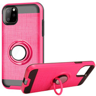 Multifunctional Hybrid Armor Case with Smart Loop Ring Holder for iPhone 11 Pro - Hot Pink