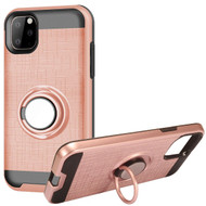 Multifunctional Hybrid Armor Case with Smart Loop Ring Holder for iPhone 11 Pro - Rose Gold