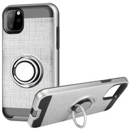 Multifunctional Hybrid Armor Case with Smart Loop Ring Holder for iPhone 11 Pro - Silver