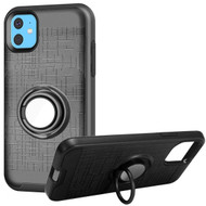 Multifunctional Hybrid Armor Case with Smart Loop Ring Holder for iPhone 11 - Black