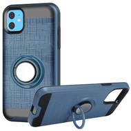 Multifunctional Hybrid Armor Case with Smart Loop Ring Holder for iPhone 11 - Ink Blue