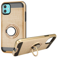 Multifunctional Hybrid Armor Case with Smart Loop Ring Holder for iPhone 11 - Gold