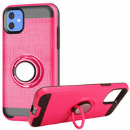 Multifunctional Hybrid Armor Case with Smart Loop Ring Holder for iPhone 11 - Hot Pink