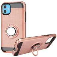 Multifunctional Hybrid Armor Case with Smart Loop Ring Holder for iPhone 11 - Rose Gold