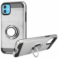 Multifunctional Hybrid Armor Case with Smart Loop Ring Holder for iPhone 11 - Silver