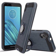 Multifunctional Hybrid Armor Case with Smart Loop Ring Holder for Motorola Moto E6 - Ink Blue