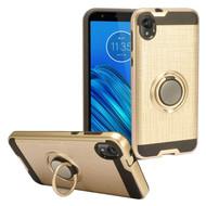 Multifunctional Hybrid Armor Case with Smart Loop Ring Holder for Motorola Moto E6 - Gold