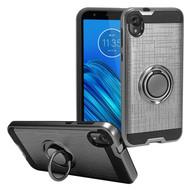 Multifunctional Hybrid Armor Case with Smart Loop Ring Holder for Motorola Moto E6 - Grey