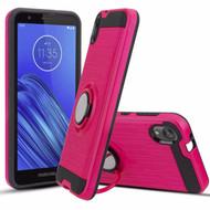 Multifunctional Hybrid Armor Case with Smart Loop Ring Holder for Motorola Moto E6 - Hot Pink