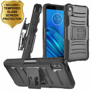 Advanced Armor Hybrid Case with Holster and Tempered Glass Screen Protector for Motorola Moto E6 - Black