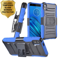 Advanced Armor Hybrid Case with Holster and Tempered Glass Screen Protector for Motorola Moto E6 - Blue