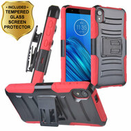 Advanced Armor Hybrid Case with Holster and Tempered Glass Screen Protector for Motorola Moto E6 - Red