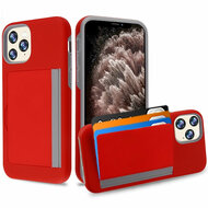 Poket Credit Card Hybrid Armor Case for iPhone 11 Pro Max - Red